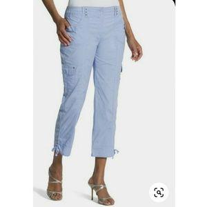Chico's Amelia Crop Cargo Pant Blue Diamond SZ. 00